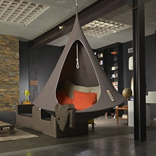 Children size Cacoon taupe hanging chair