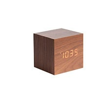 Mini cube dark wood alarm clock