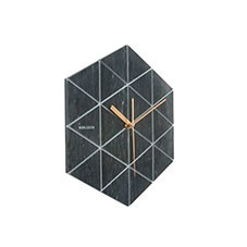 Marble hexagon black wall clock