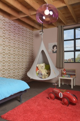 Single Cacoon grey hanging chair - in showroom
